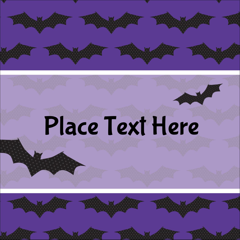 "1½"" x 1½"" Square Label - Halloween Bats"