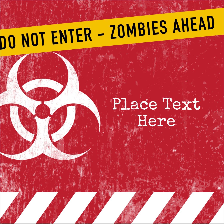 """1½"""" x 1½"""" Square Label - Halloween Zombie Apocalypse"""