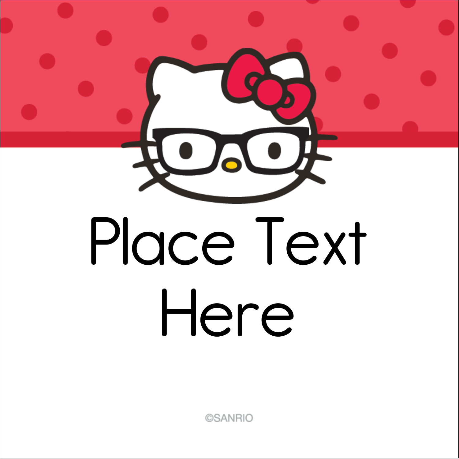 """1½"""" x 1½"""" Square Label - Your Friend Hello Kitty"""