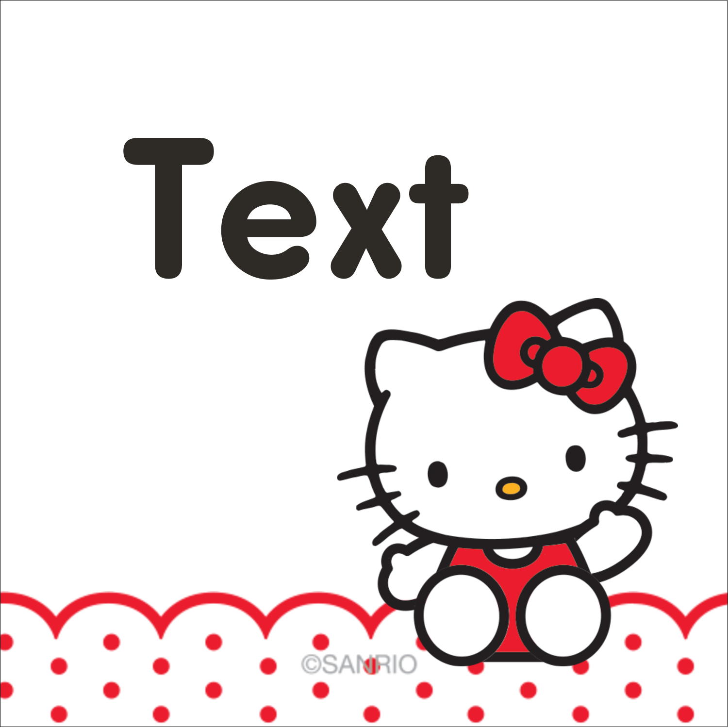 "1½"" x 1½"" Square Label - Hello Kitty Waving"
