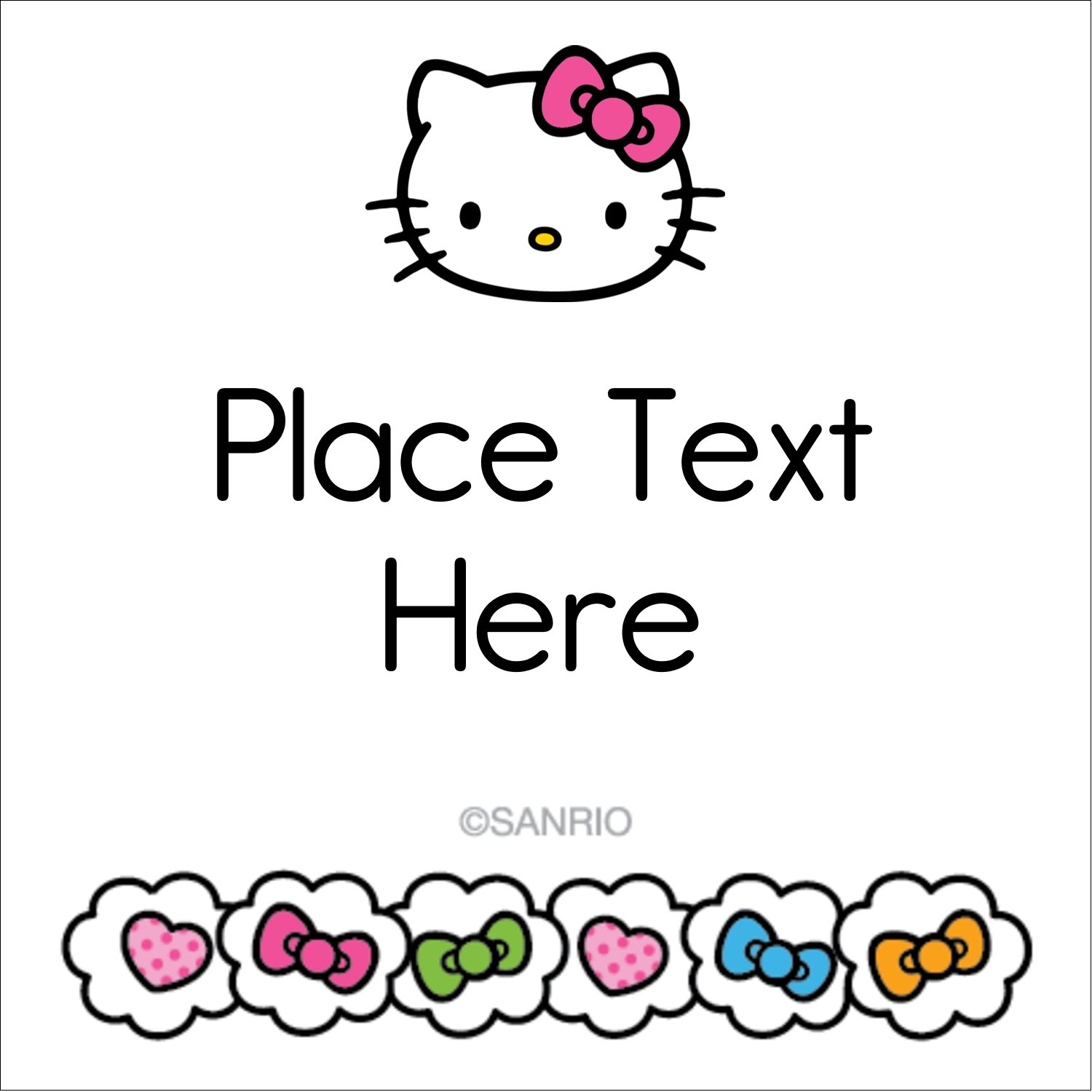 "1½"" x 1½"" Square Label - Hello Kitty Hearts and Bows"