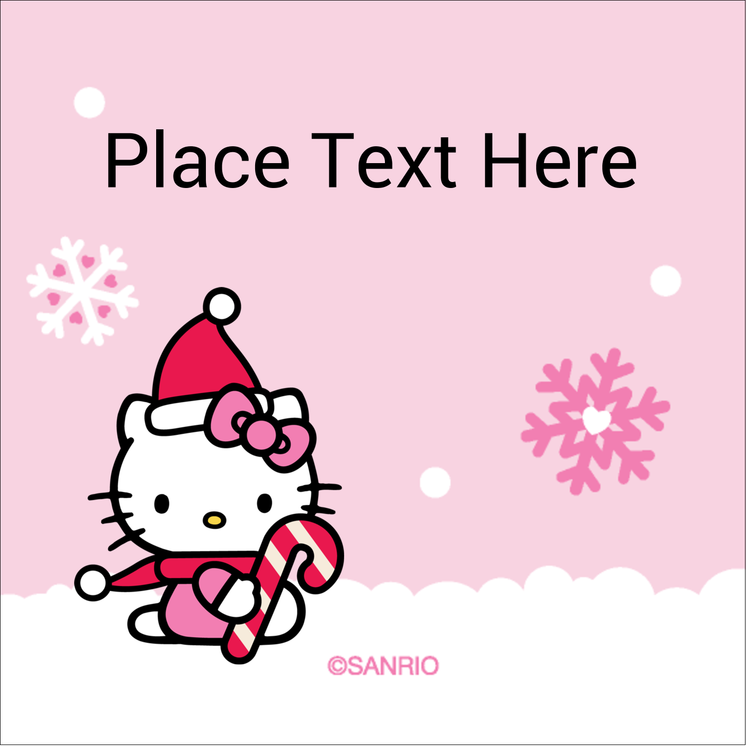 "1½"" x 1½"" Square Label - Hello Kitty Candy Cane Christmas"