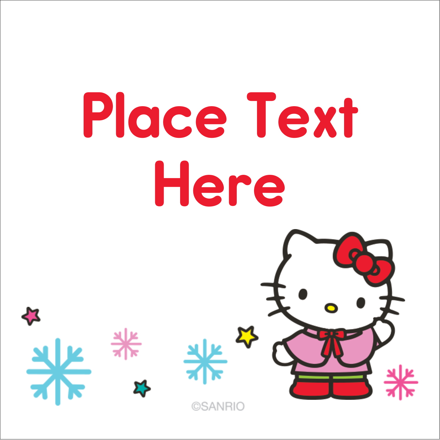 """1½"""" x 1½"""" Square Label - Hello Kitty Holiday"""
