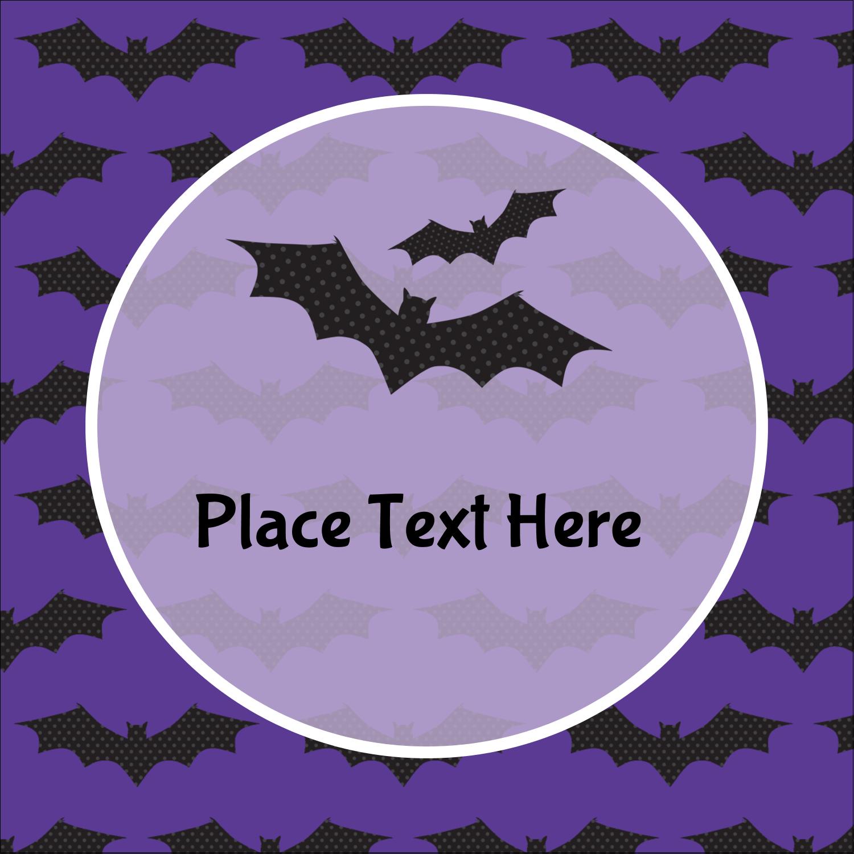 "2"" x 2"" Square Label - Halloween Bats"
