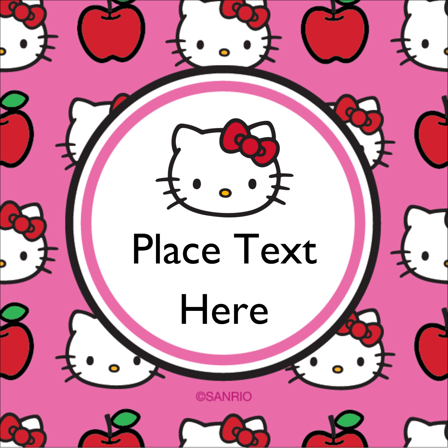 "2"" x 2"" Square Label - Hello Kitty Loves Apples!"