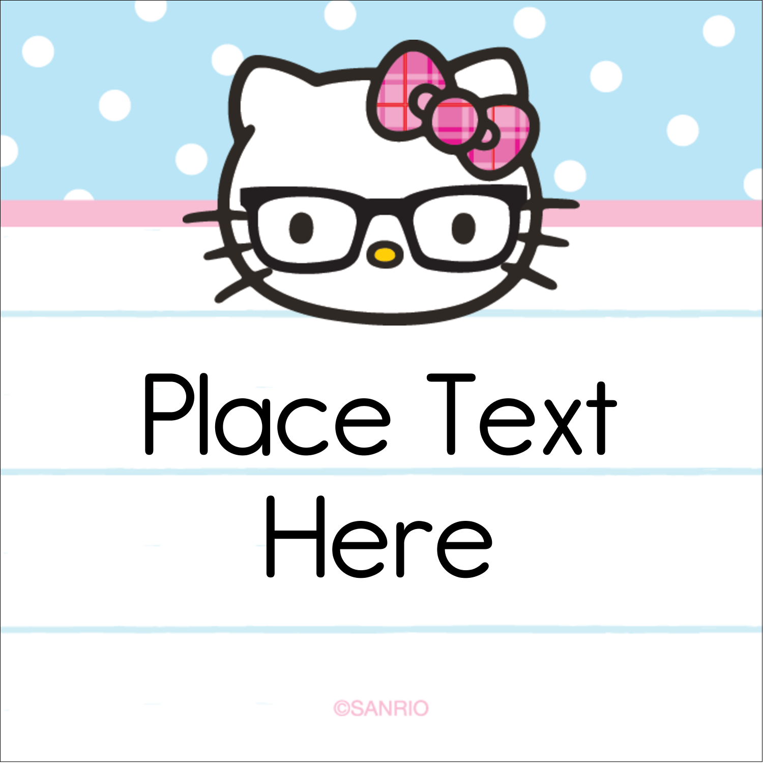"2"" x 2"" Square Label - Hello Kitty with Glasses"