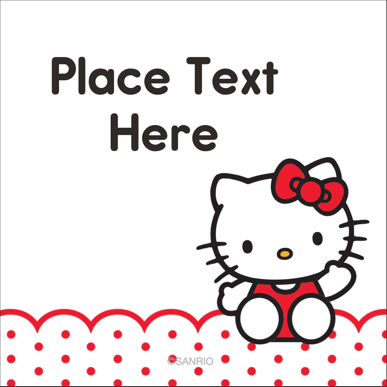"2"" x 2"" Square Label - Hello Kitty Waving"