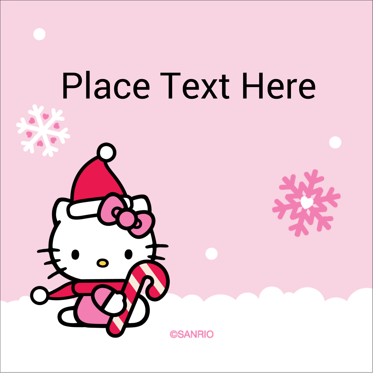 """2"""" x 2"""" Square Label - Hello Kitty Candy Cane Christmas"""