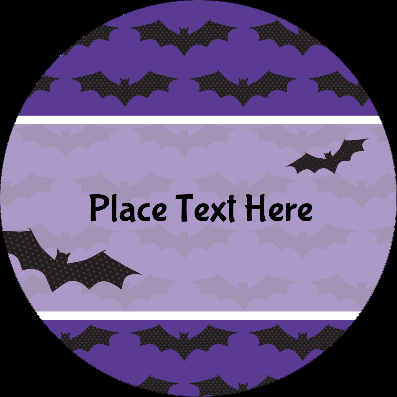 """2"""" Round Label - Halloween Bats"""