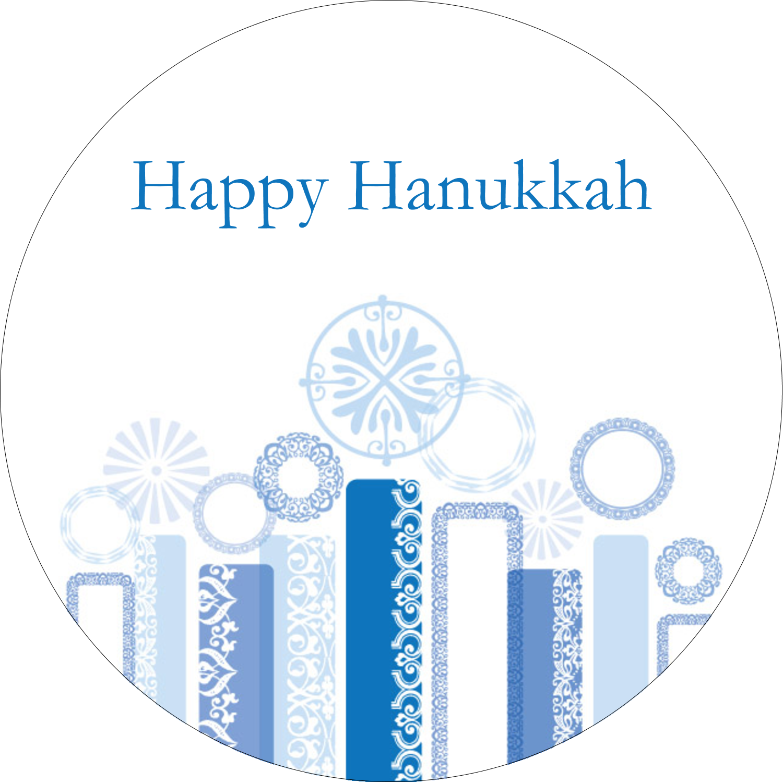 "2"" Round Label - Hanukkah Menorah Blue"
