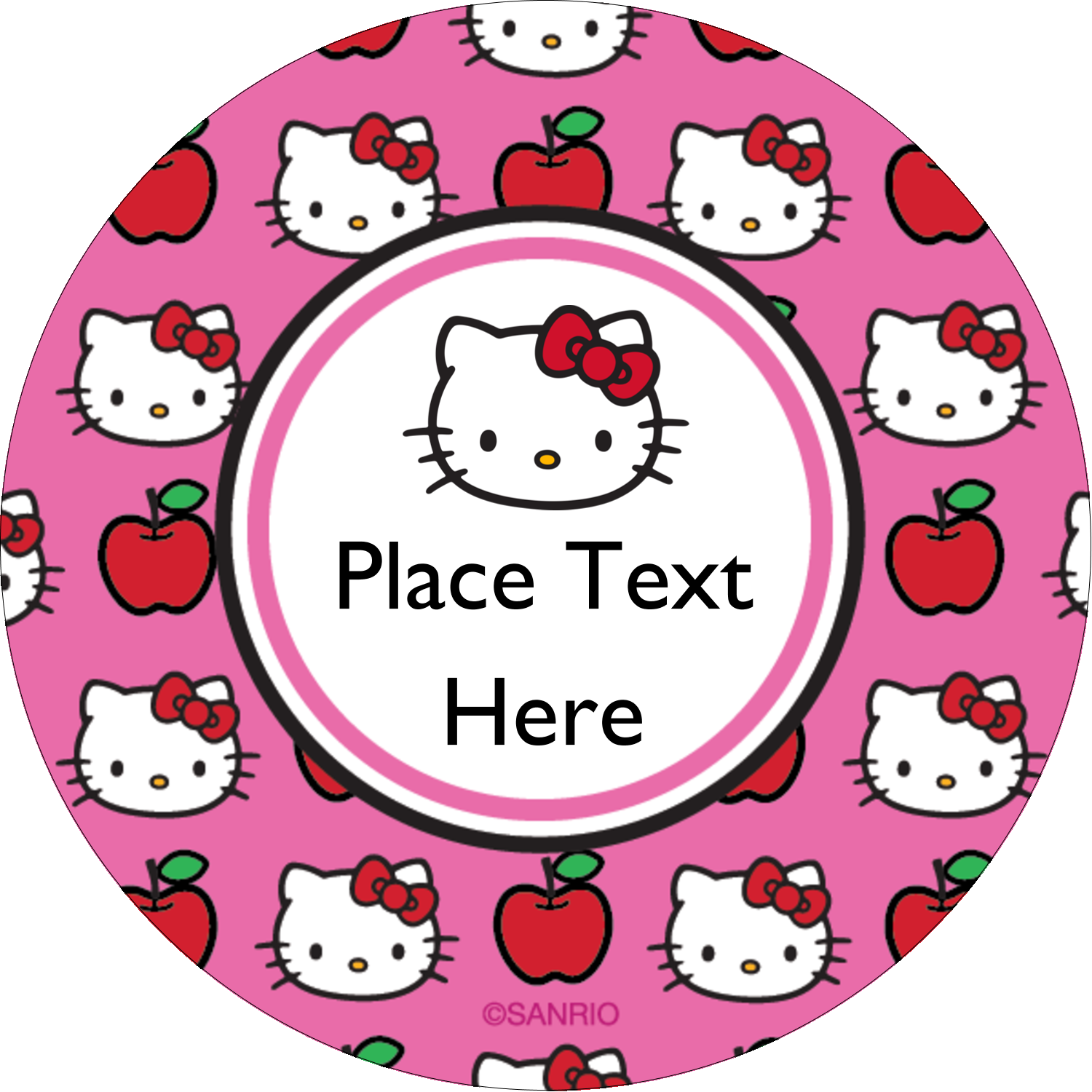 "2"" Round Label - Hello Kitty Loves Apples!"
