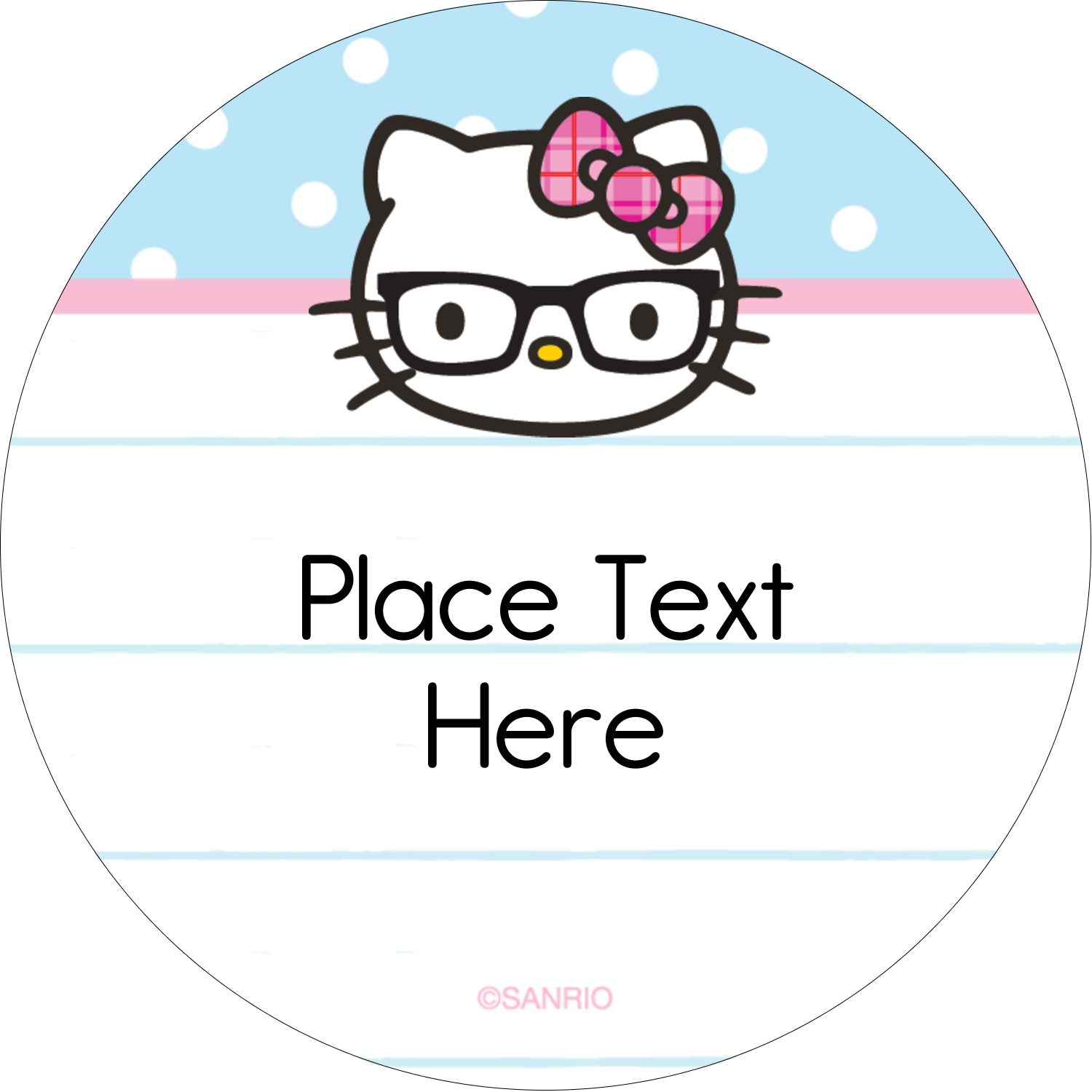 "2"" Round Label - Hello Kitty with Glasses"