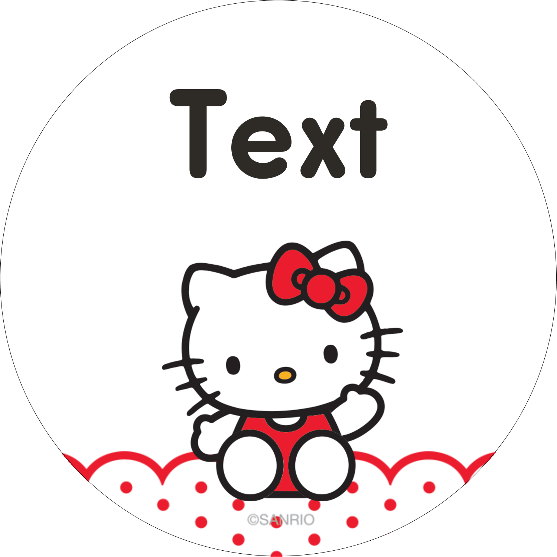 "2"" Round Label - Hello Kitty Waving"