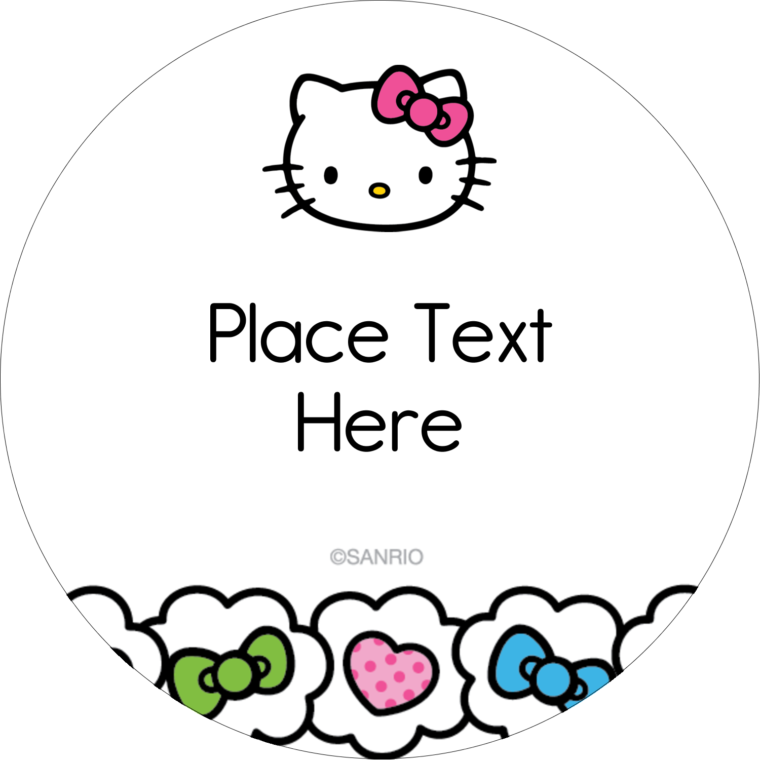 "2"" Round Label - Hello Kitty Hearts and Bows"