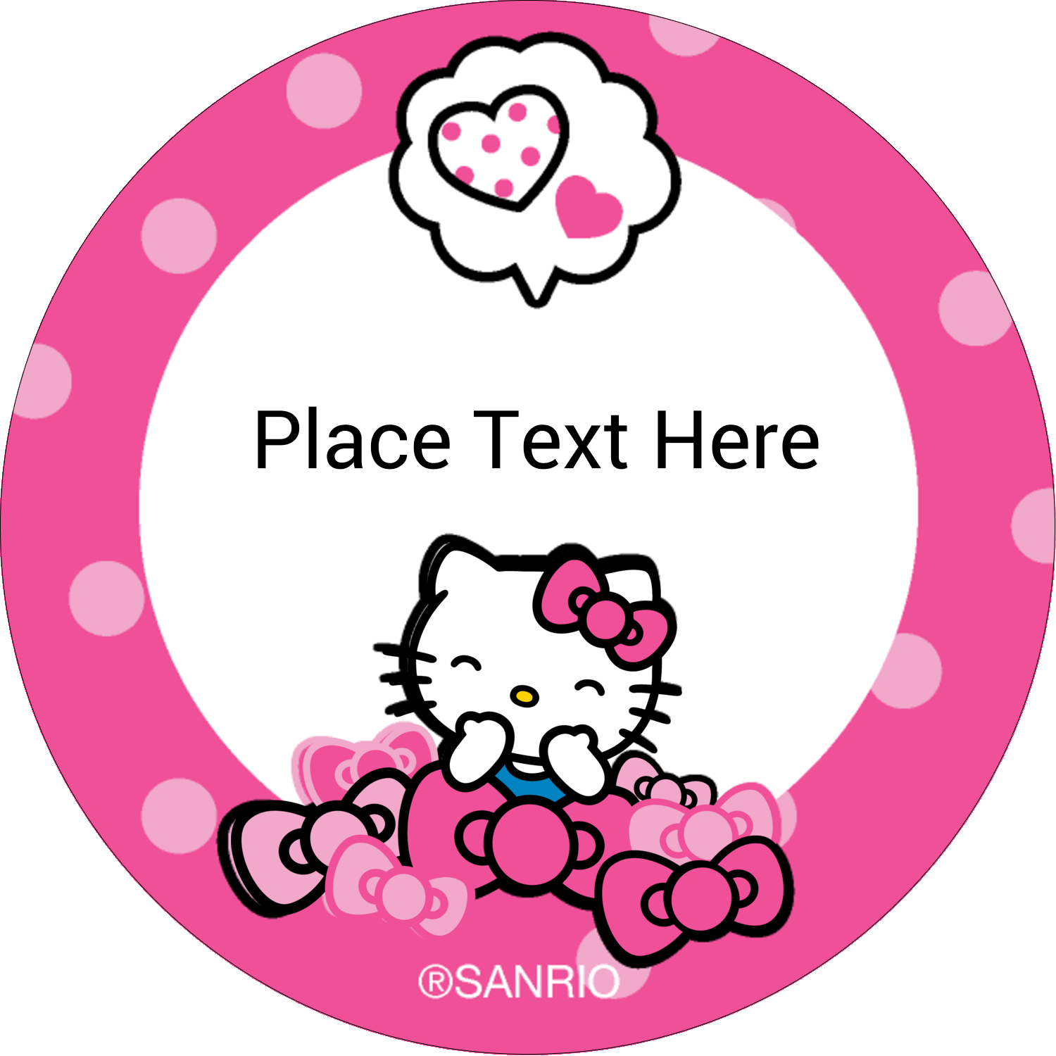 "2"" Round Label - Hello Kitty Giggles"