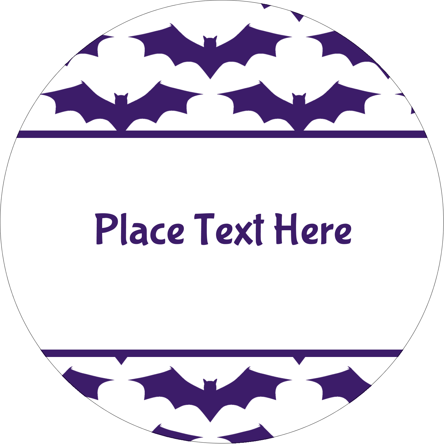 "2½"" Round Label - Halloween Bats"