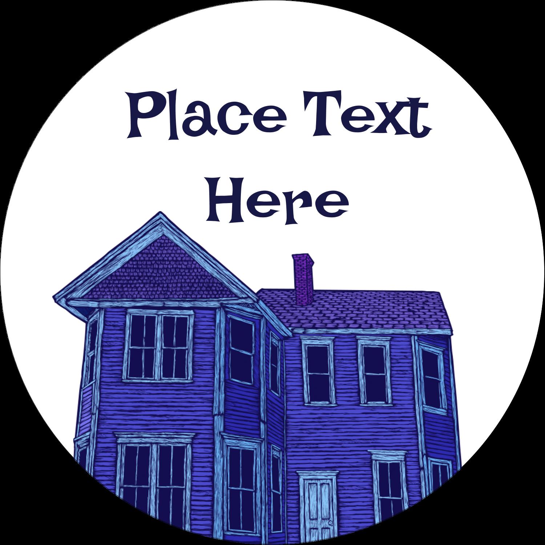 "2½"" Round Label - Halloween Haunted House Chalk"