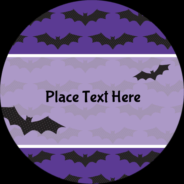 """2½"""" Round Label - Halloween Bats"""