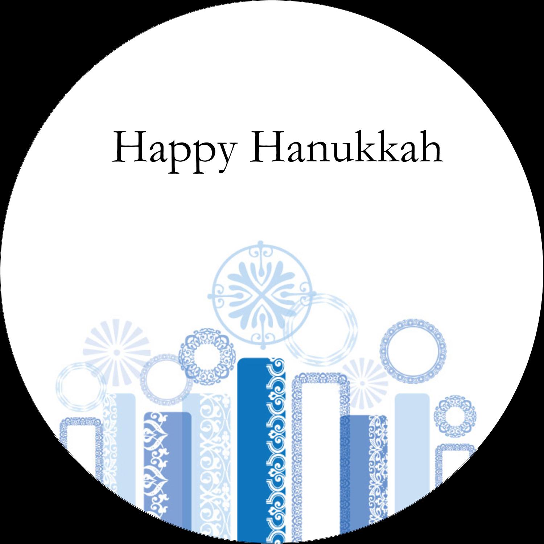 "2½"" Round Label - Hanukkah Menorah Blue"