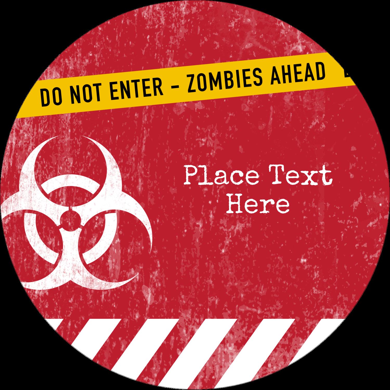 """2½"""" Round Label - Halloween Zombie Apocalypse"""