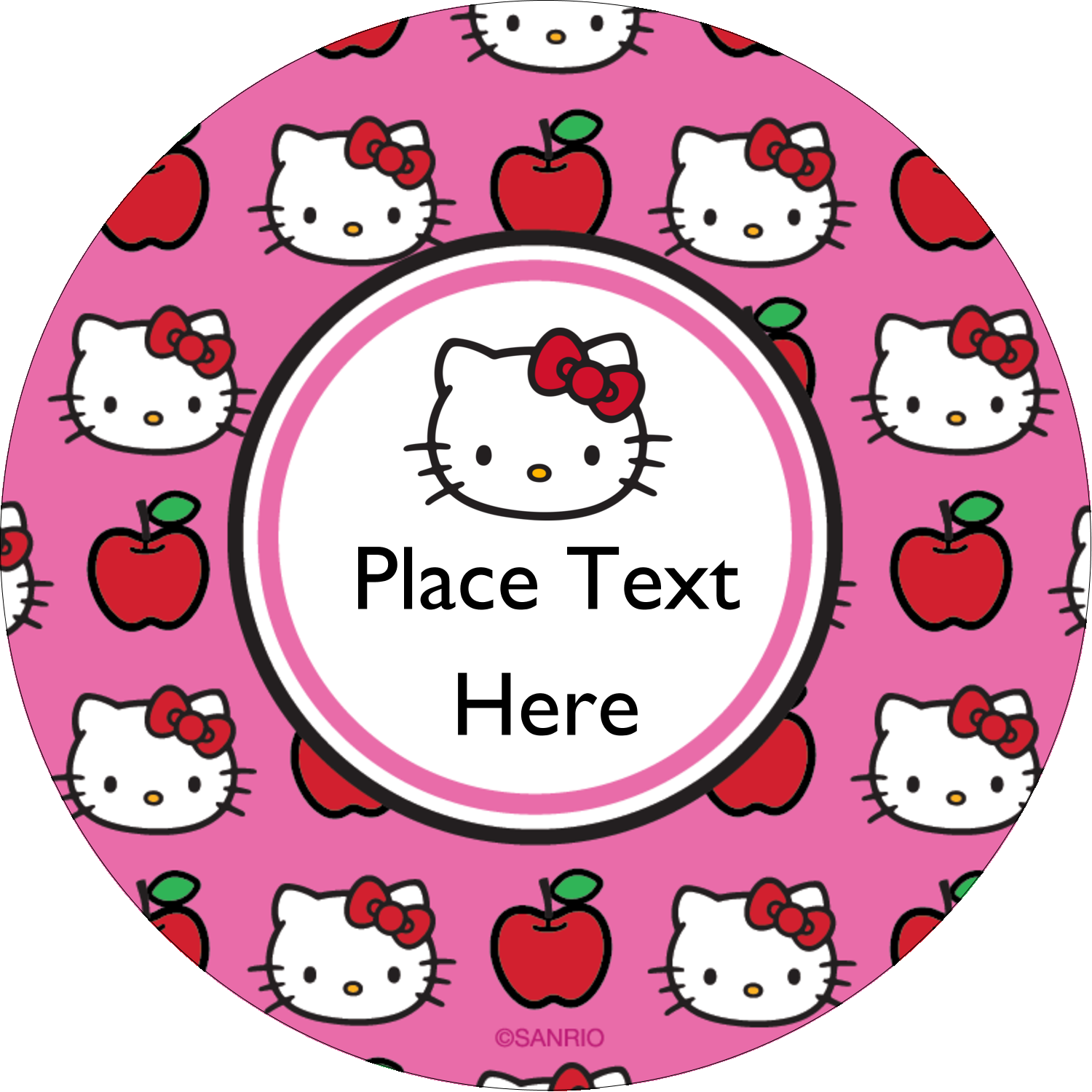 "2½"" Round Label - Hello Kitty Loves Apples!"