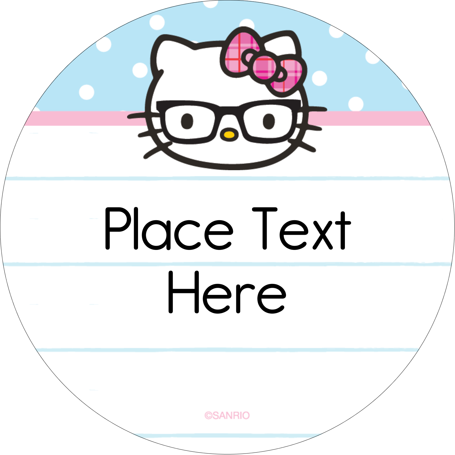 "2½"" Round Label - Hello Kitty with Glasses"