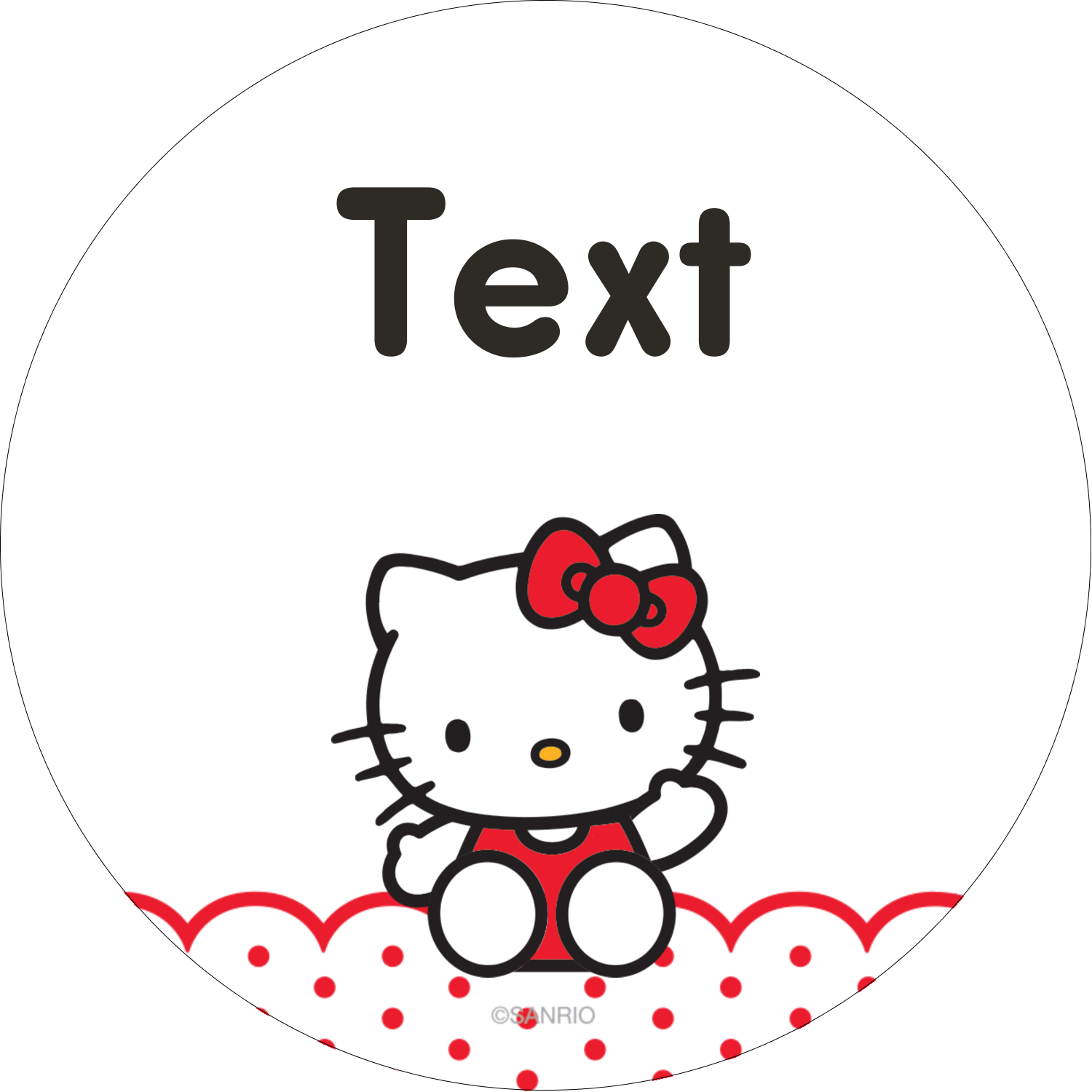"2½"" Round Label - Hello Kitty Waving"