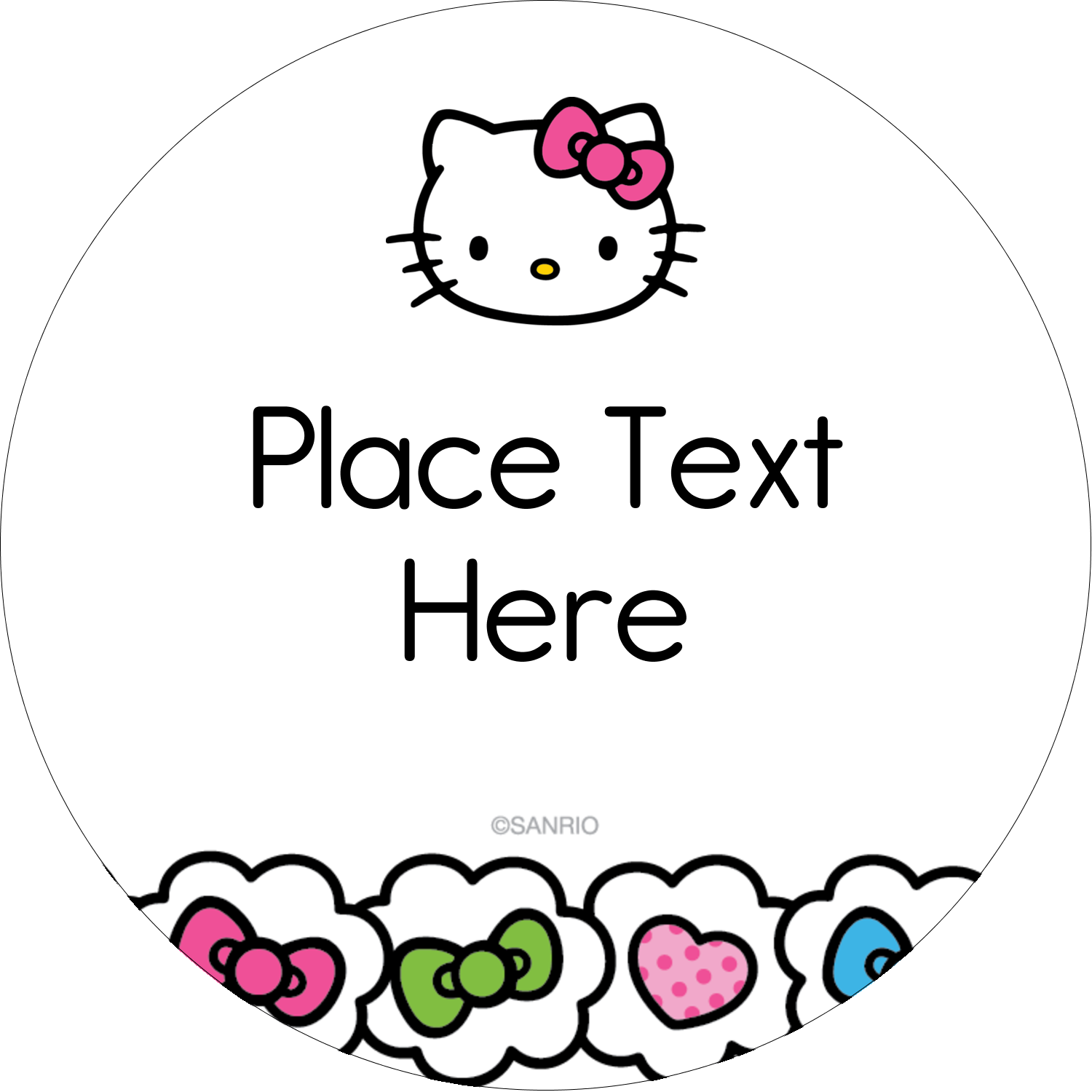 "2½"" Round Label - Hello Kitty Hearts and Bows"