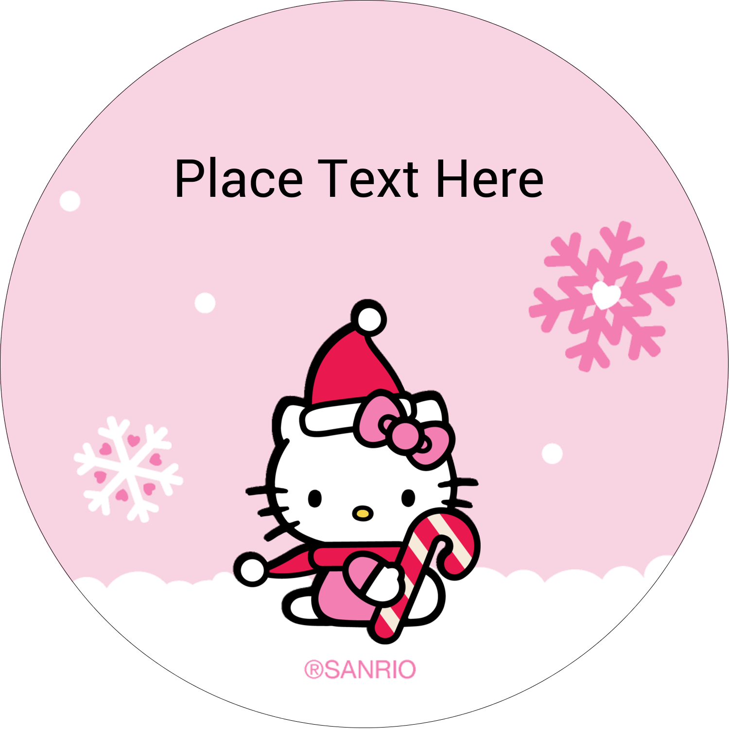 "2½"" Round Label - Hello Kitty Candy Cane Christmas"