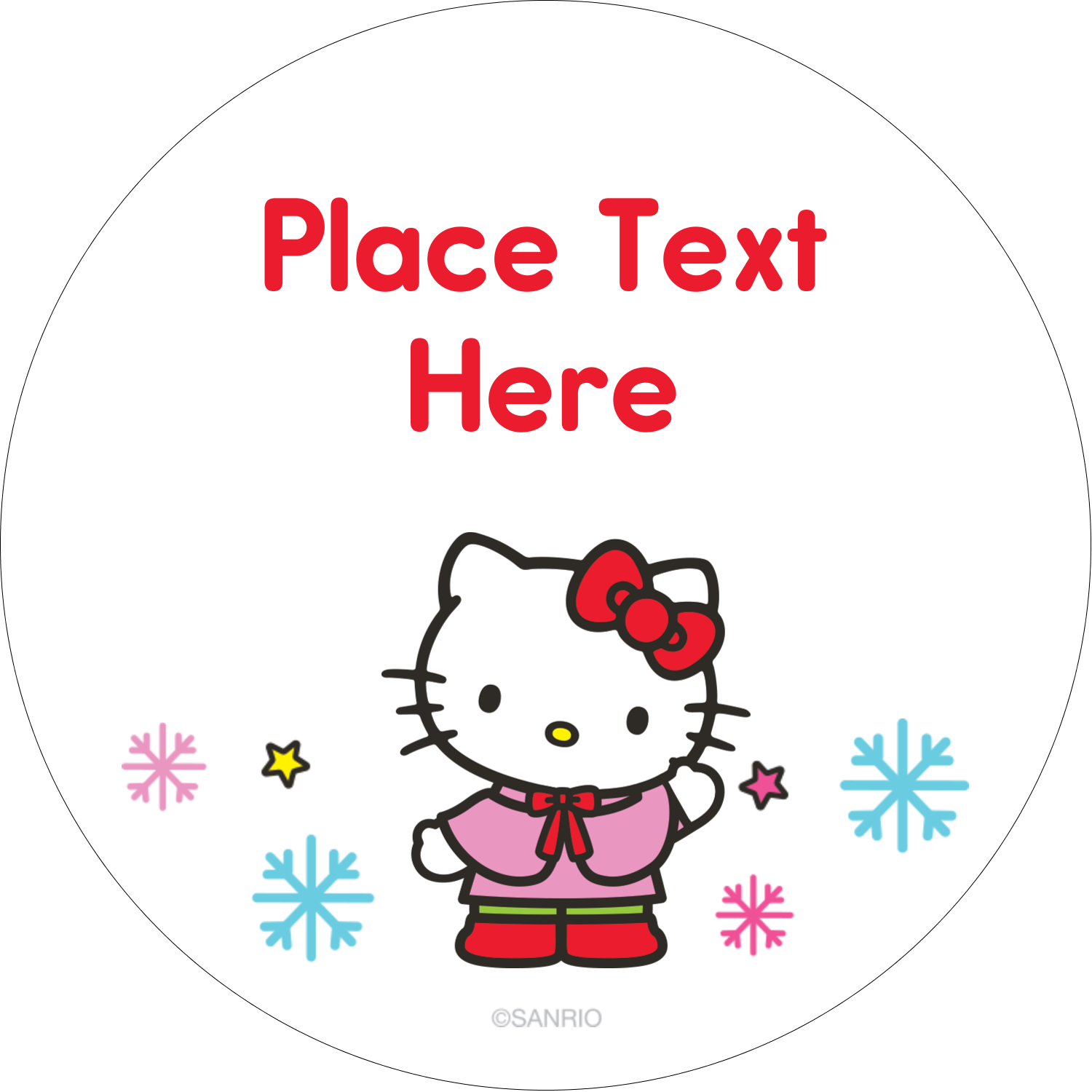 """2½"""" Round Label - Hello Kitty Holiday"""