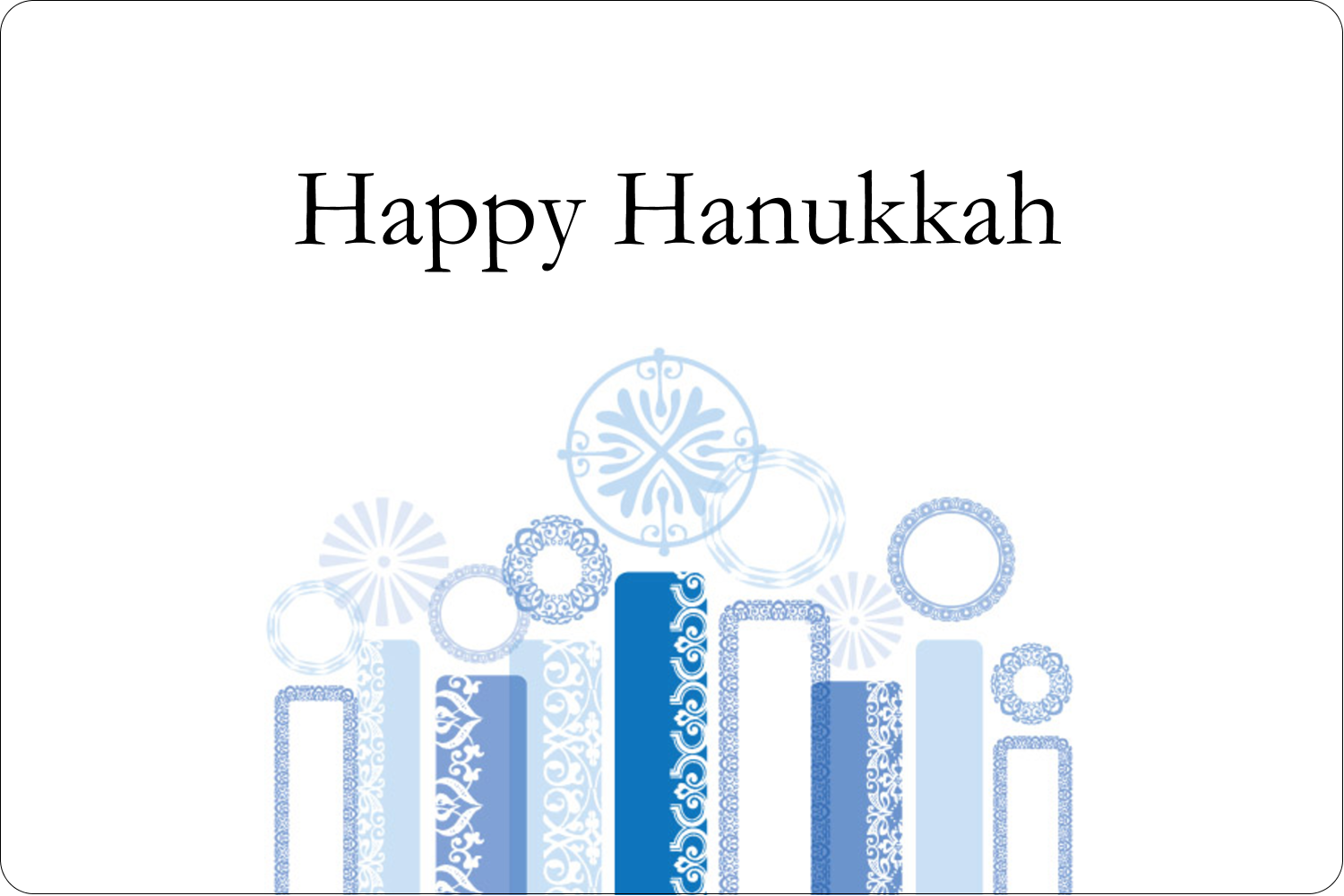 "2"" x 3"" Rectangular Label - Hanukkah Menorah Blue"