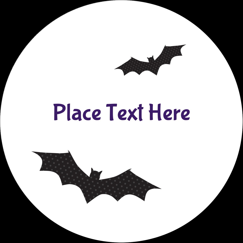 """2"""" Embossed Round Label - Halloween Bats"""