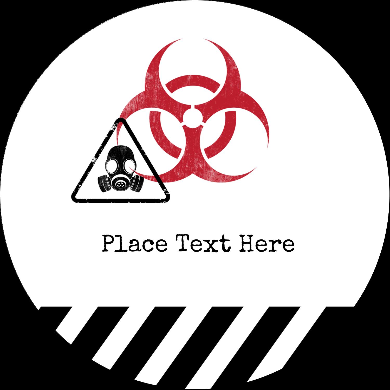 """2"""" Embossed Round Label - Halloween Zombie Apocalypse"""