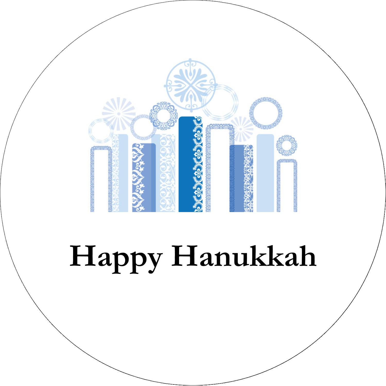 "2"" Embossed Round Label - Hanukkah Menorah Blue"