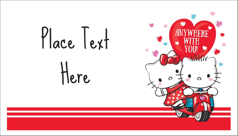 "2"" x 3½"" Business Card - Hello Kitty & Dear Daniel Valentine"
