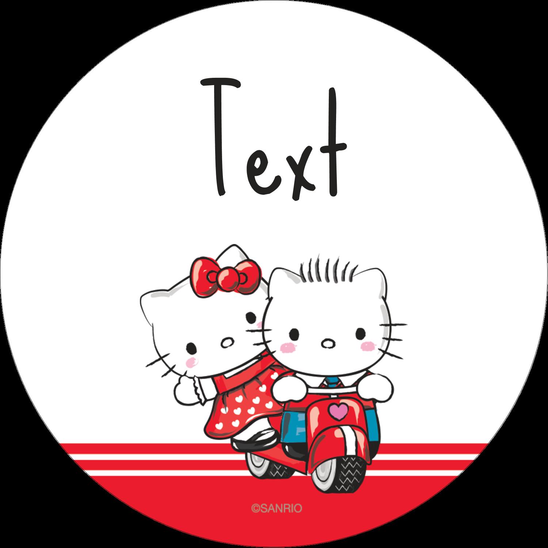 """2½"""" Round Label - Hello Kitty & Dear Daniel Valentine"""