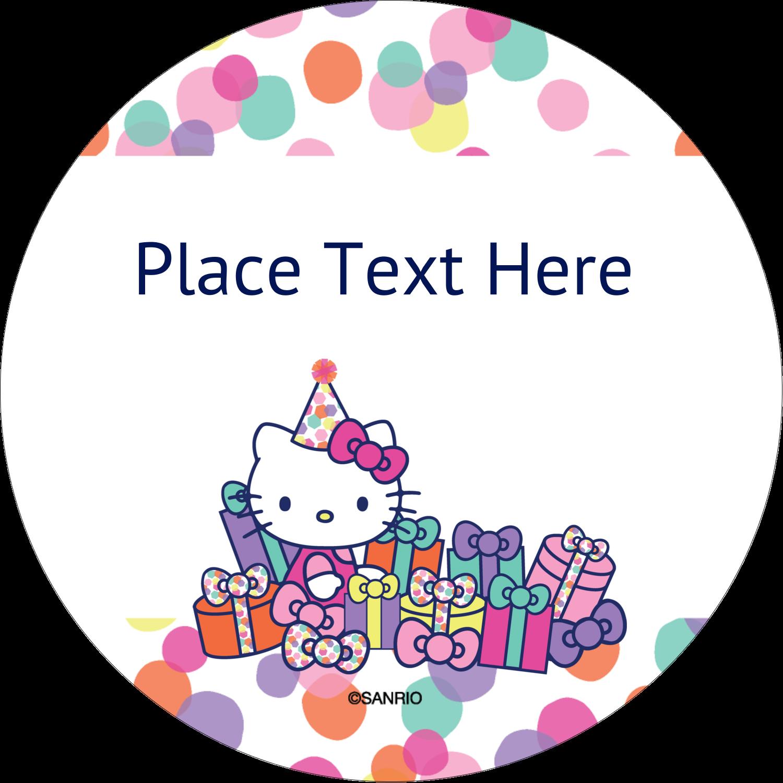 """2½"""" Round Label - Hello Kitty Birthday"""