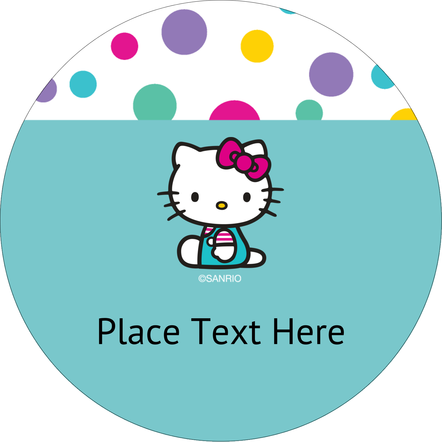 "2½"" Round Label - Hello Kitty Party"