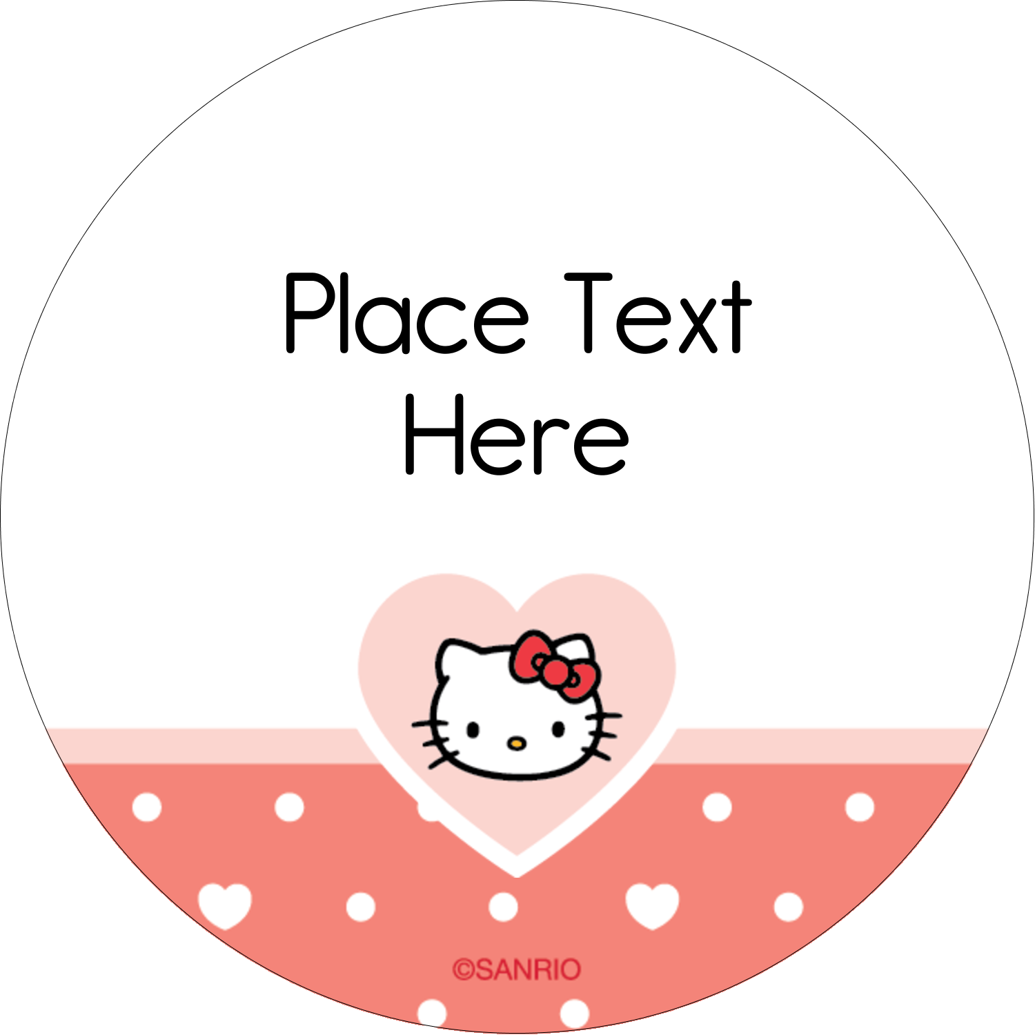 "2"" Round Label - We love Hello Kitty"