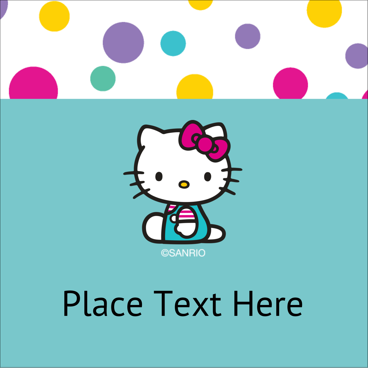 """2"""" x 2"""" Square Label - Hello Kitty Party"""