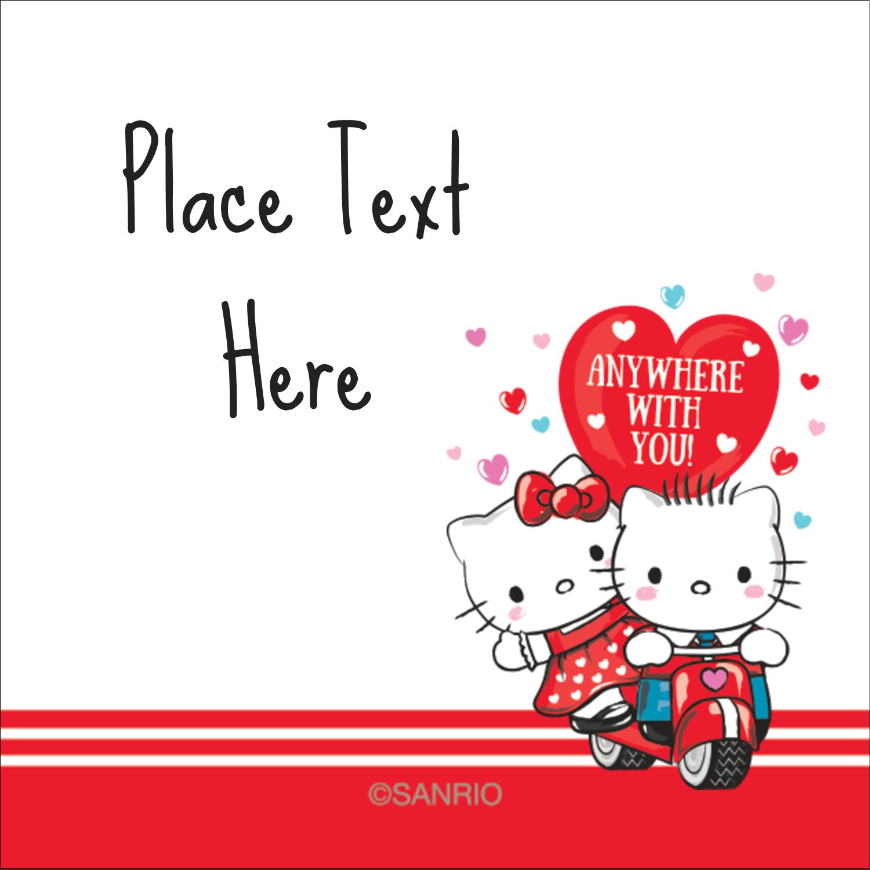 """1½"""" x 1½"""" Square Label - Hello Kitty & Dear Daniel Valentine"""