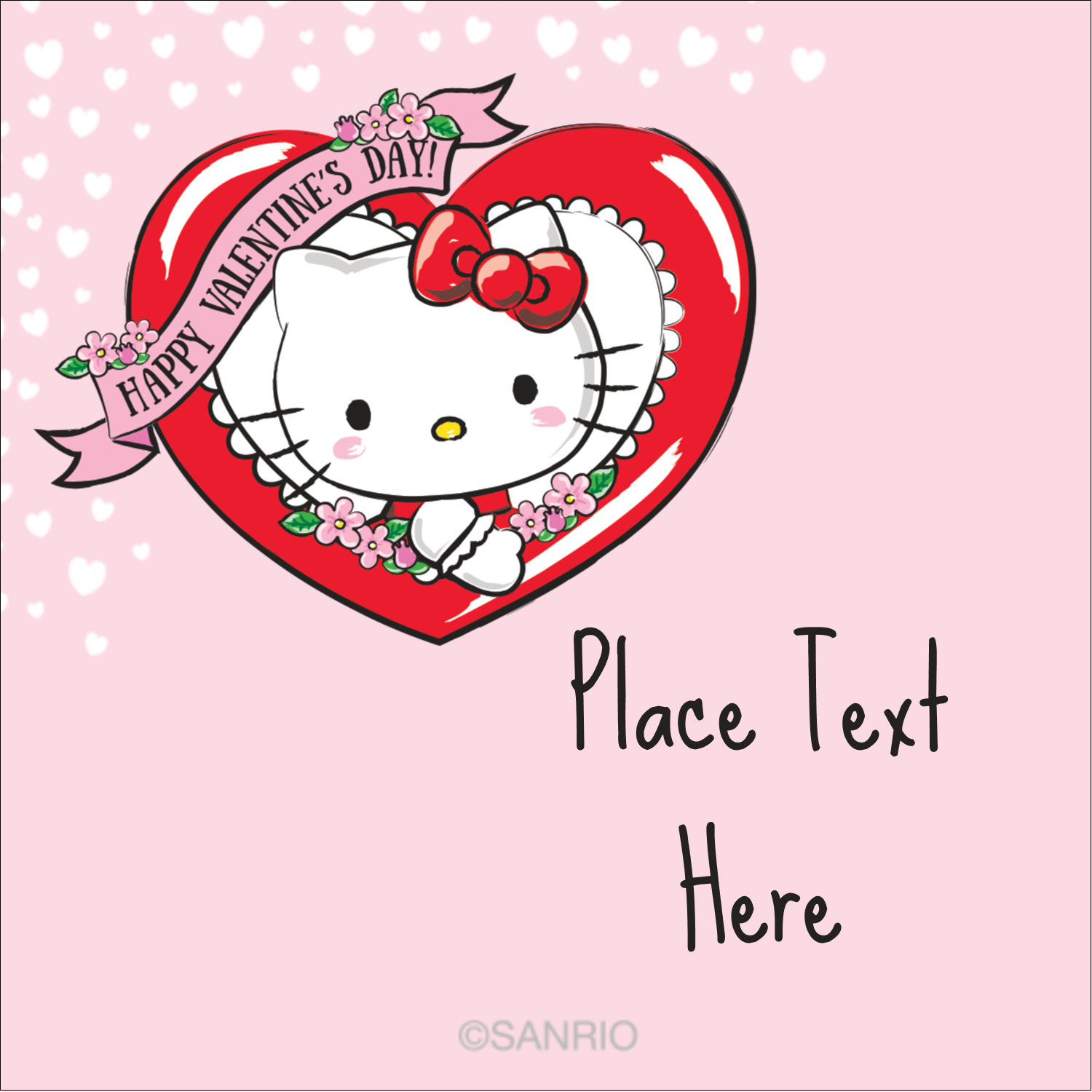 "1½"" x 1½"" Square Label - Hello Kitty Valentine"
