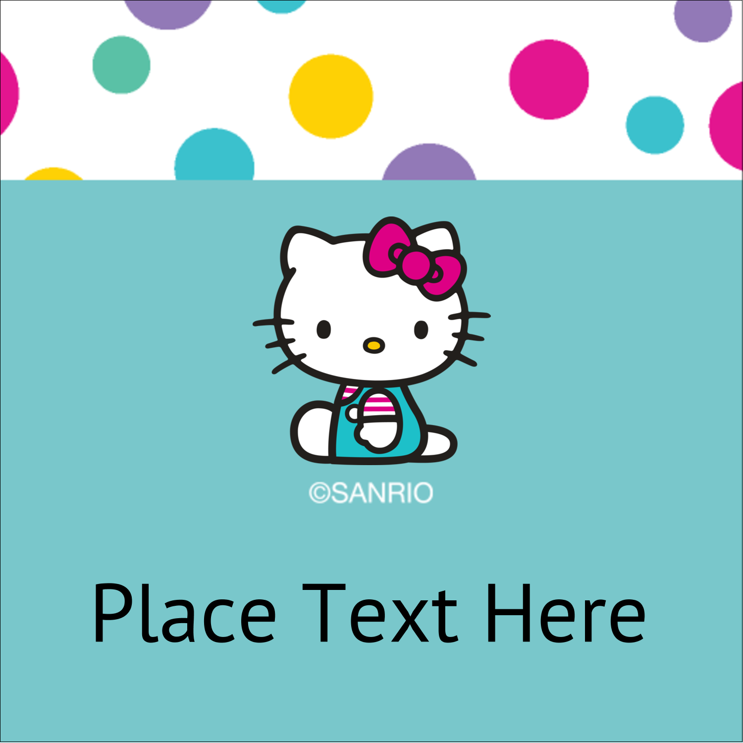 "1½"" x 1½"" Square Label - Hello Kitty Party"