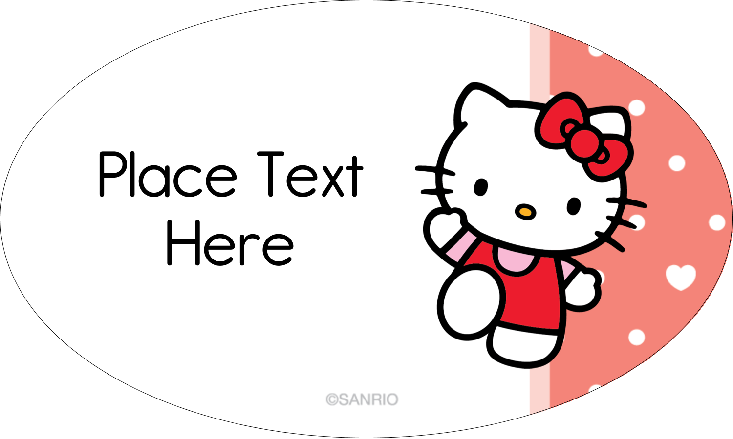 "1½"" x 2½"" Oval Glossy Label - We love Hello Kitty"