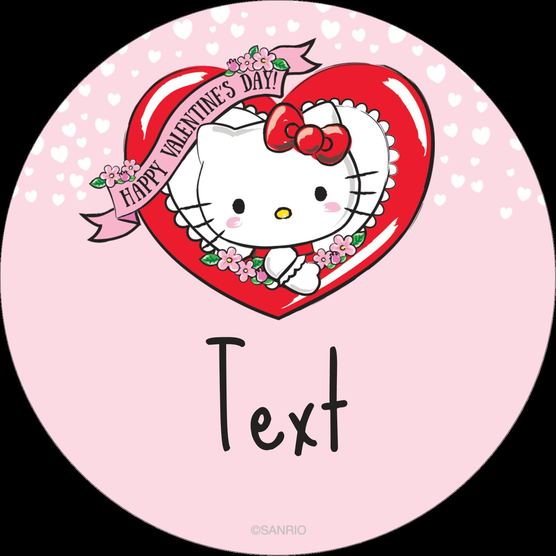 """2½"""" Round Label - Hello Kitty Valentine"""
