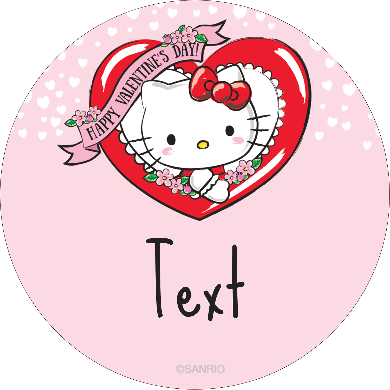 "2"" Round Label - Hello Kitty Valentine"