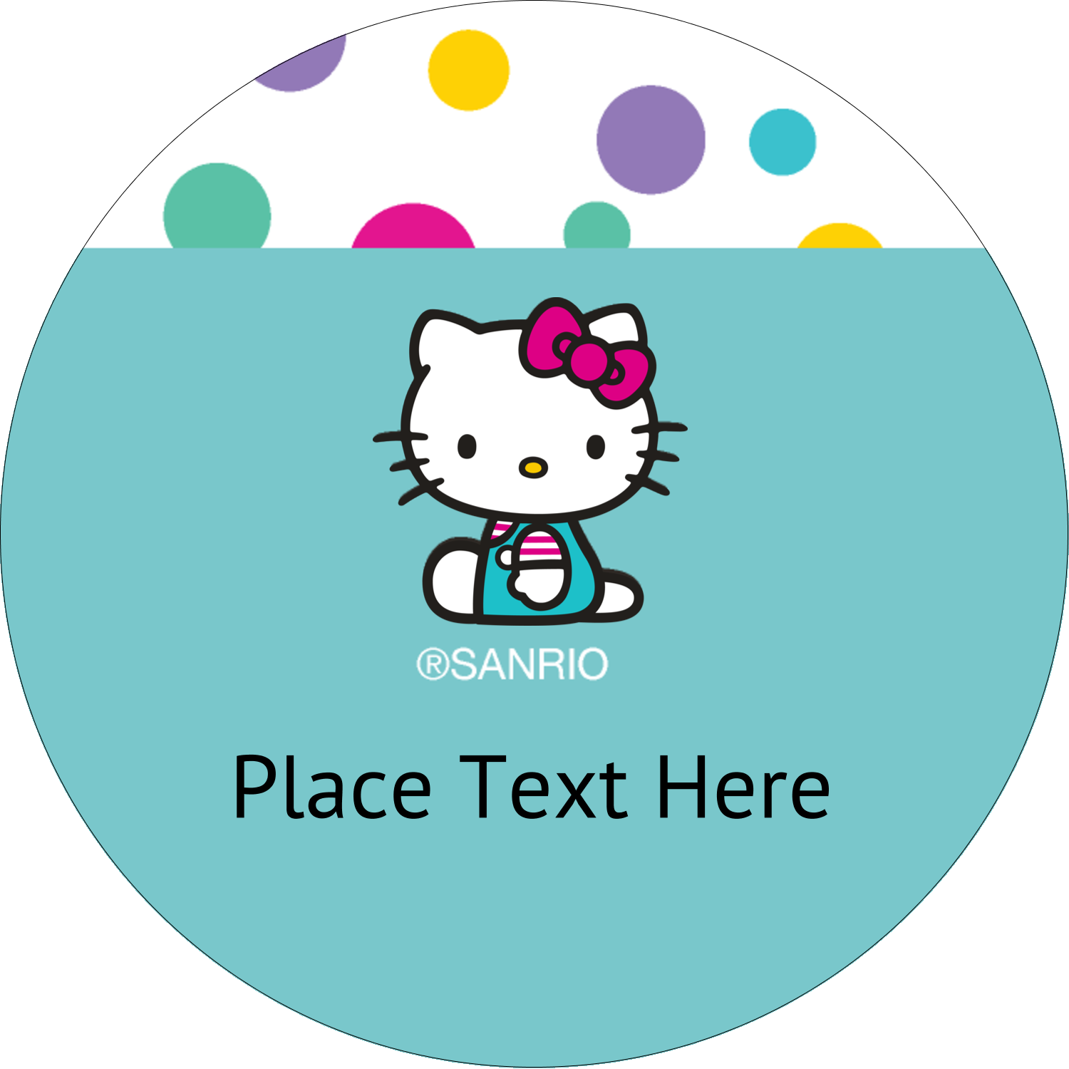 "2"" Round Label - Hello Kitty Party"
