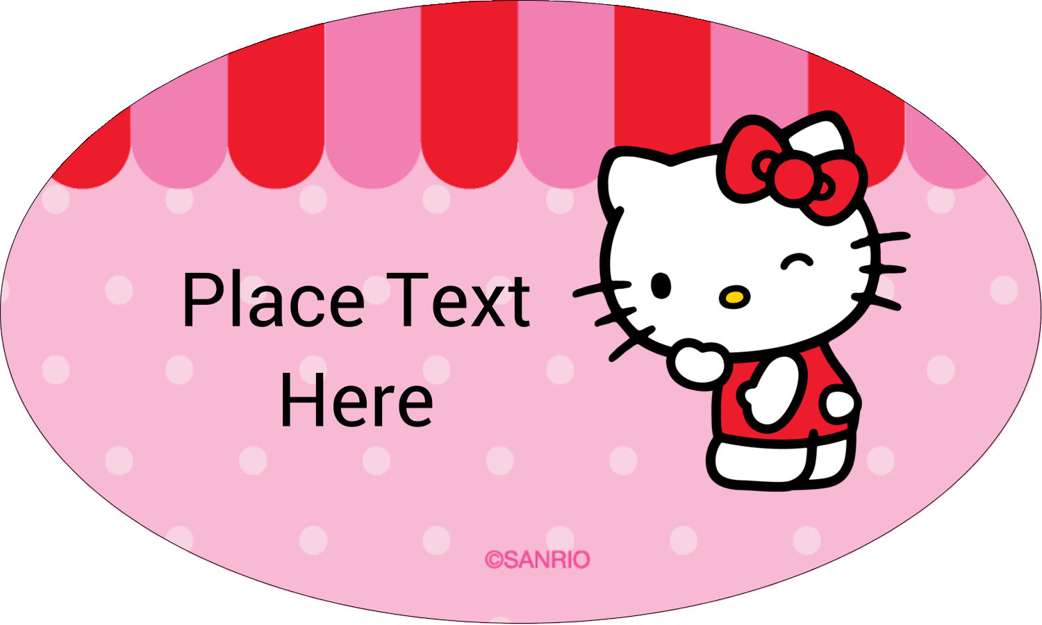 "1½"" x 2½"" Oval Glossy Label - Sweet Hello Kitty"