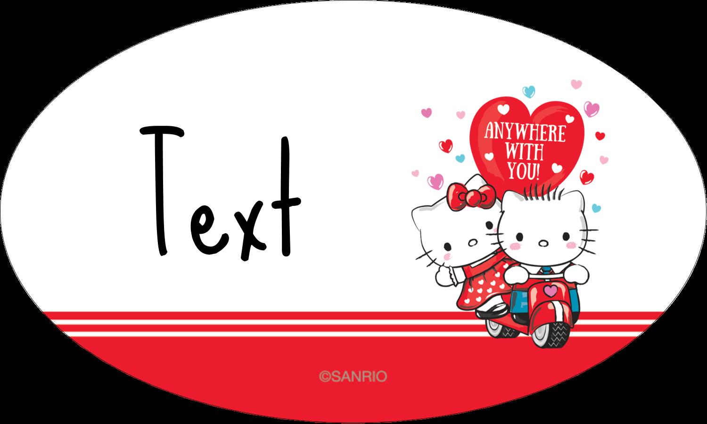 "1½"" x 2½"" Oval Glossy Label - Hello Kitty & Dear Daniel Valentine"