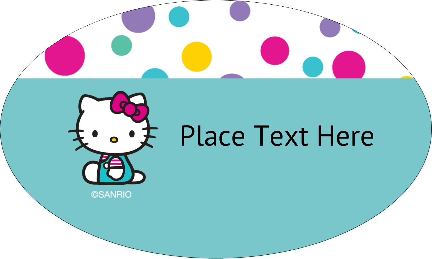 "1½"" x 2½"" Oval Glossy Label - Hello Kitty Party"